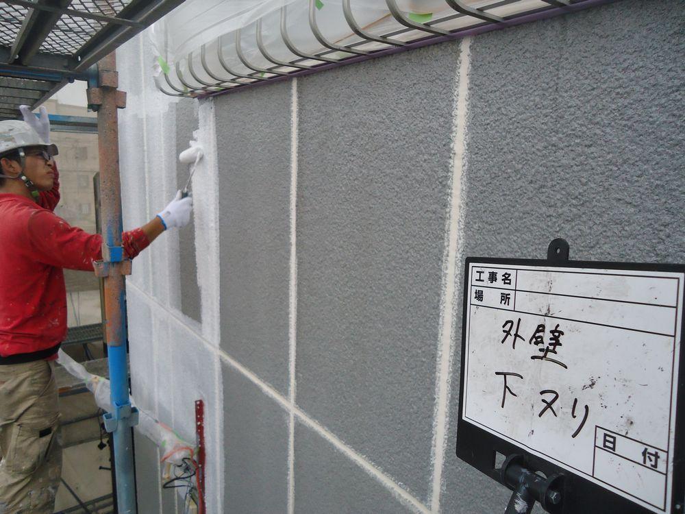 外壁・ALC 下塗り2回目です
