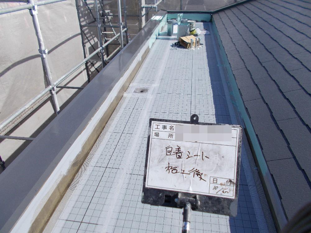 屋上防水 自着シート施工後です。このシートの上に塗料で防水層