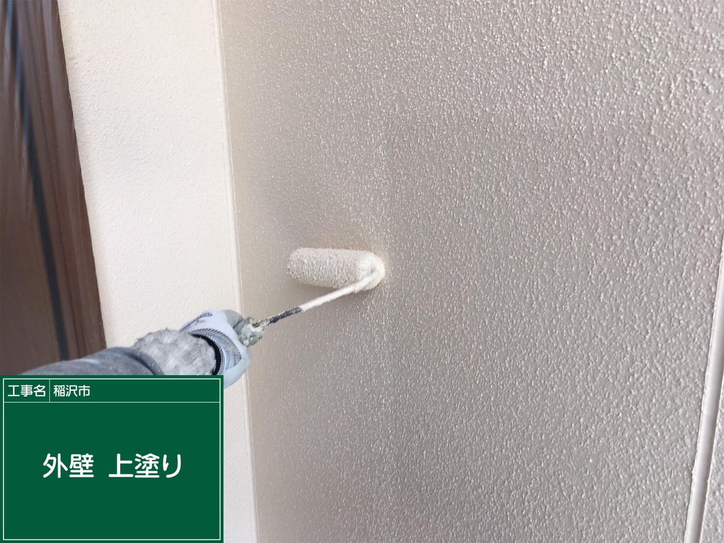 外壁 上塗り中です。もうすぐ完成です。